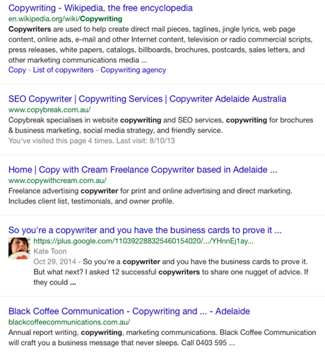 Copywriter search signed into Google mobile