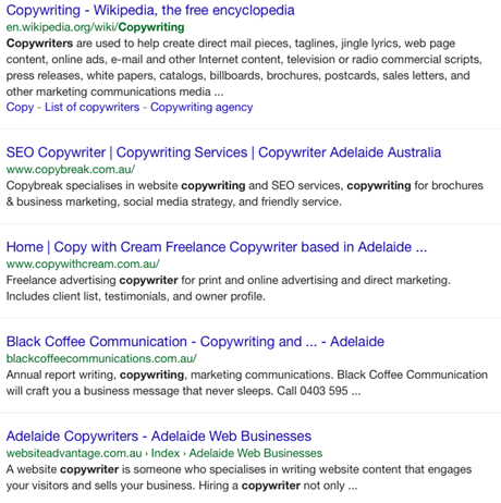 Copywriter search signed out of Google mobile