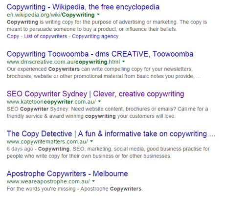 Copywriter search signed out of Google home