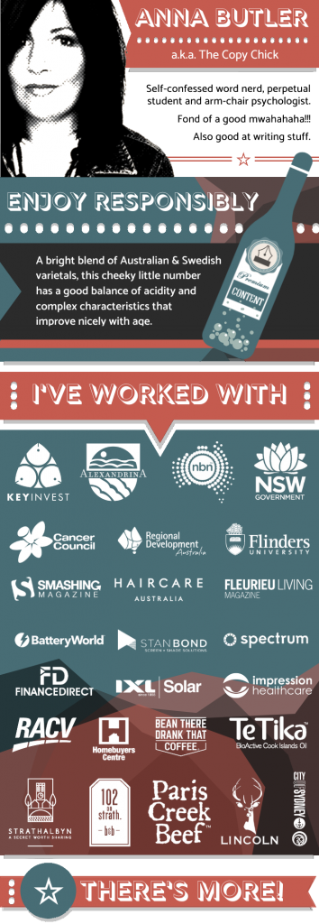 Infographic showcasing client list of digital copywriter Anna Butler
